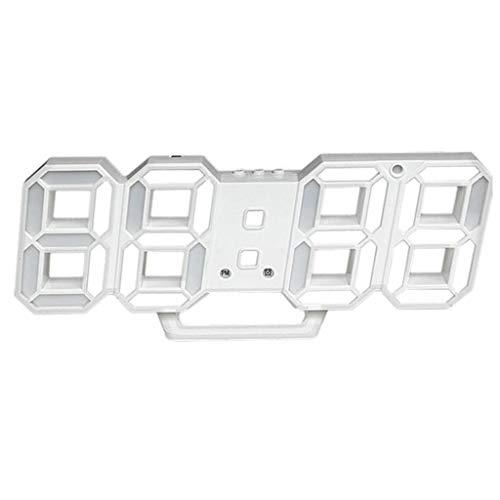 Reloj de escritorio Pantalla digital LED Alarma Reloj Ahorro de energía Alarma Hora y temperatura Pantalla Cargador USB Sencilla sala de estar Dormitorio Reloj despertador Reloj ( Color : White )