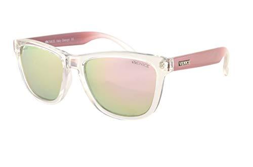 VENICE EYEWEAR OCCHIALI Gafas de sol unisex polarizadas con protección 100% UV400 (Transparente Rosa)