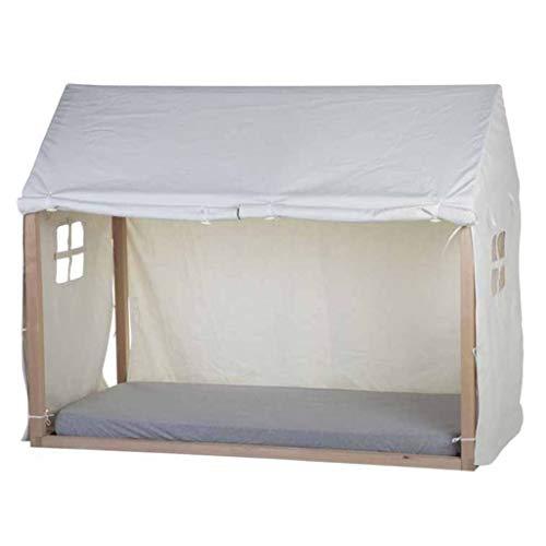 CHILDHOME Dosel con Cortina en Forma de Casa 210x100x150cm Blanco Toldo Marquesina Cubierta Cama Mueble Mobiliario Dormitorio Habitación