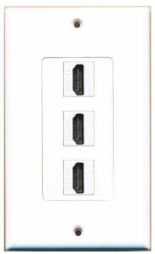 RiteAV - 3 Port HDMI 2.0 Decorative Wall Plate (White)