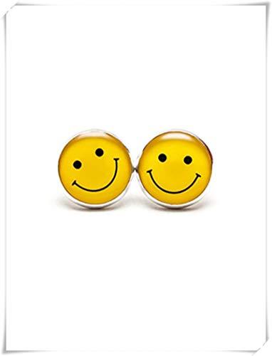 Smiley Face Stud Pendientes, Smile Jewelry, Amarillo Smile Face Pendientes de Cara, Smile Face Emoticon Tachuelas, Geek Geekery Geeky Smiley Face Smile Smile Jewelry,