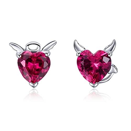 Moda 925 plata esterlina ángel y demonio rosa CZ corazón pendientes señoras pendientes joyería
