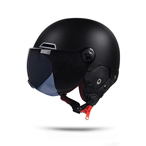 LIONCIANO Metà Aperto Faccia Casco Del Motociclo Con Occhialoni,Casco Modulare Scooter,l'Anti-Collisione Protegge La Sicurezza Stradale Degli Utenti(Nero Opaco,Marrone Lente)