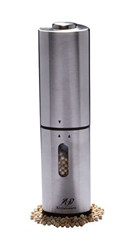 AD Kitchenware Electric Pepper Grinder Salt and Pepper Mill Kitchen, Stainless Steel