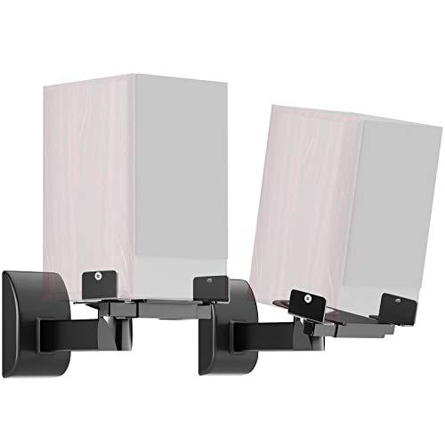 BONTEC 2 pièces (1 Paire) Support Mural Universel pour Haut-parleurs pivotant inclinable réglable (Noir)