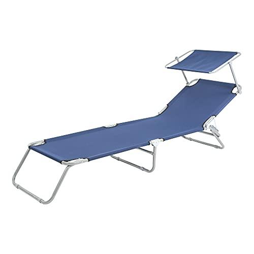 ECD Germany Sonnenliege aus Aluminium, Liegestuhl, Gartenliege, mit Sonnendach, Rückenlehne verstellbar, Ultraleicht, robust, klappbar, 200 cm, bis 120 kg belastbar, Garten, Balkon, blau