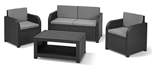 Keter Modena Garden Furniture Lounge Set, Graphite with Grey Cushions