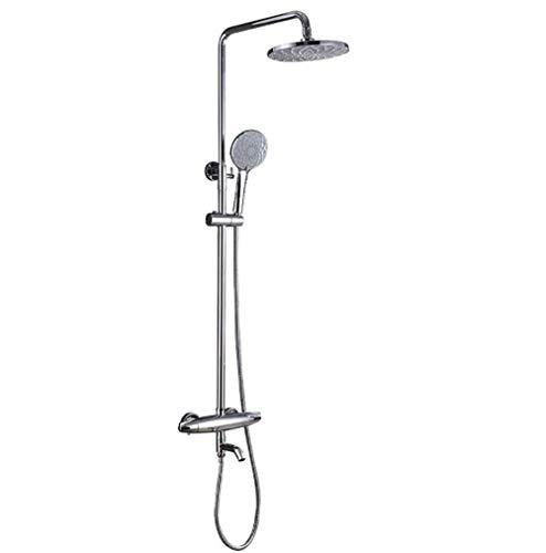 LHQ-HQ Mezclador de la bañera Grifo Ducha de Lluvia Conjunto de Cobre Cromado Ducha de Mano Conjunto de 8 Pulgadas con Ducha de Mano Cascada (Color: Plata)