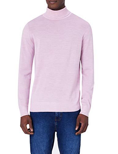 MERAKI Merino Rollkragenpullover Herren, Rosa (Medium Pink Marl), X-Large