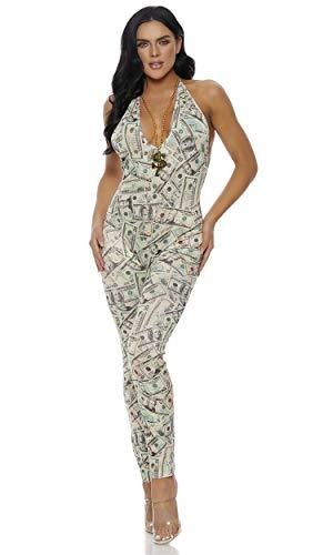 Macacão feminino Forplay com estampa de dinheiro e amarração no pescoço ajustável, Creme, Small/Medium