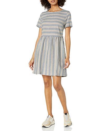 Goodthreads Kleid mit kurzen Ärmeln und ausgestelltem Schnitt aus gewaschenem Leinen-Mischgewebe Dresses, Dünne Regenbogen-Streifen, US S (EU S - M)