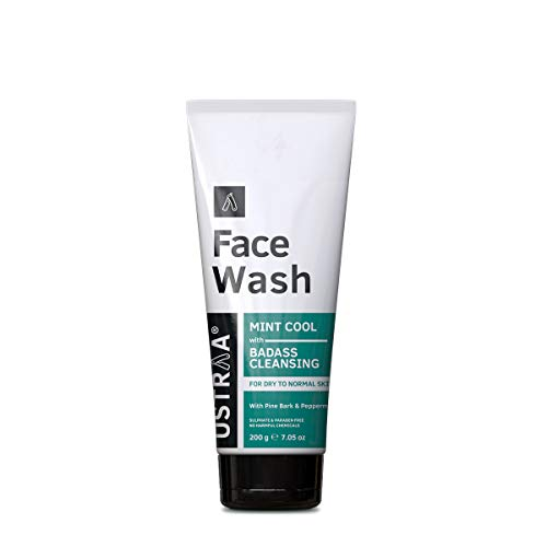 Ustraa Face Wash Dry Skin (Mint Cool) For Men – 200g – With Pine Bark Extract & Peppermint – No Sulphate & Paraben – For Intense Moisturization