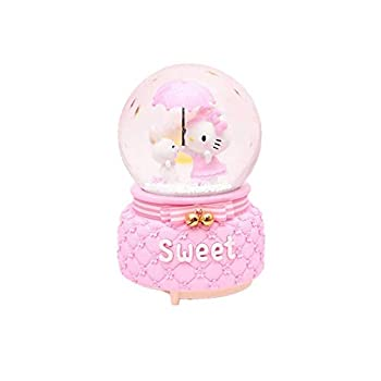 Flower_piggy Hello Kitty Music Crystal Ball Light Snow Rotate Home Decor Ornament Birthday  Kitty with Rabbit 1Song+Snow+Inside Rotate