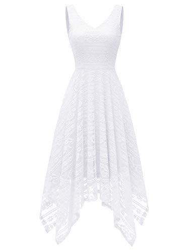 MODECRUSH Damen Cocktailkleider Elegant Kurz Abendkleider Ärmellos Asymmetrisch aus Spitzen Weiß1 S
