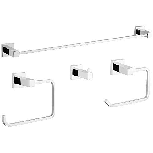 Gricol Juego de Accesorios de Baño de 4 piezas Soporte para Toallas Soporte para Papel Higiénico y Gancho Accesorios de Pared para Baño