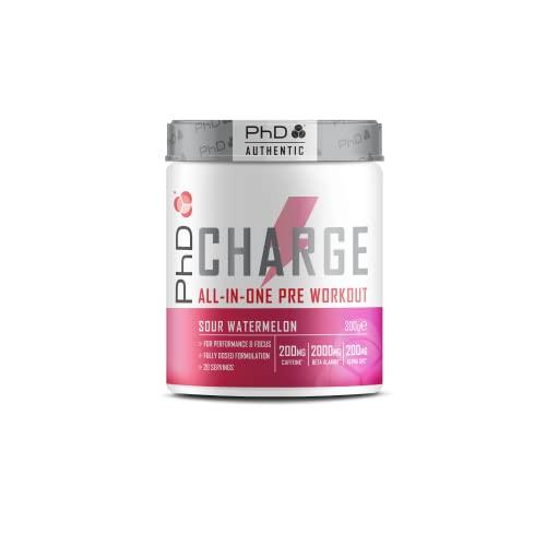 PHD CHARGE PRE-WORKOUT POWDER Polvere Energetica per Potenziare Energia e Muscoli, Rallenta l'azione dell'Acido Lattico, Vegana, Contiene Caffeina, 300G - Gusto Anguria Acida