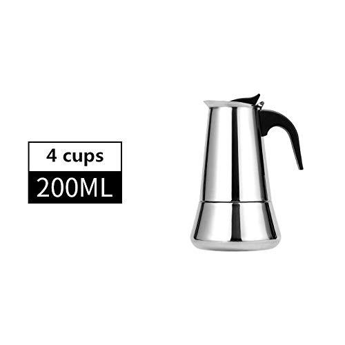 European Espresso Machine Coffee Pot Stainless Steel 304 Latte Percolator With 12 Cups / 600 Ml Cappuccino Coffee Pot (Color : 200mll B)