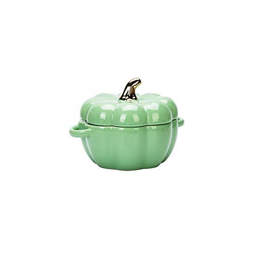 JDH Keramik Kürbis Schüssel, Souffle Dish Auflaufförmchen zum Backen mit Deckel, Mikrowelle Backofen Safe Runde Schüssel für Pie Pasta Gebratenes Gemüse Gebackene Desserts