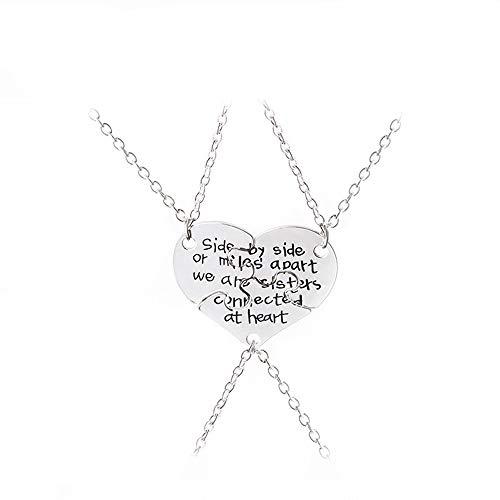 Mingjun 3 Piece Set Necklace Sister Necklace Heart Pendant Best Friends...