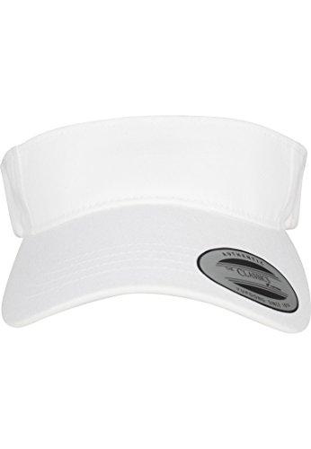 Flexfit Yupoong Damen und Herren Curved Visor Cap - Unisex Sonnenblende mit Klettverschluss Weiß, Einheitsgröße
