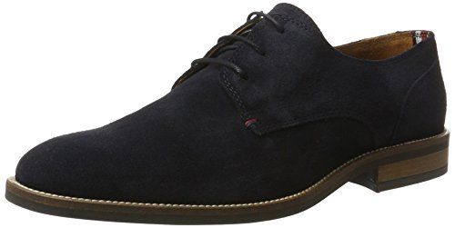 Tommy Hilfiger Herren Essential Suede LACE UP Derby, Blau (Midnight 403), 44 EU