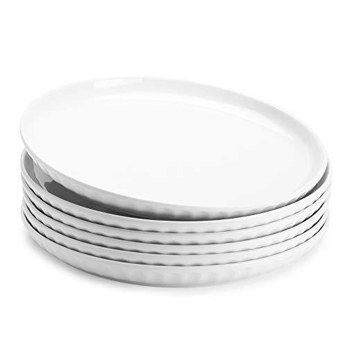 Sweese 156.001 Porcelain Fluted Dinner Plates - 10 Inch - Set of 6, White