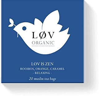 Løv Organic Løv is Zen Rooibos Tea - Orange and caramel flavored blend of herbs and apple Organic Infusion Feel Peaceful and Relaxed - Caffeine-Free (20 Muslin Tea Bags 20 Servings)