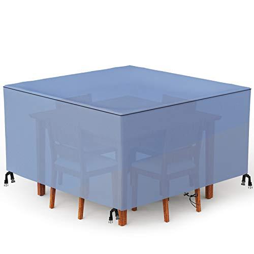 Wemk Funda para Muebles de Jardín, Impermeable 420D Oxford, Funda de Exterior para Mesas y Sillas, Cubierta Rectangular para Muebles de Patio, a Prueba de Viento, Anti-UV, 126 x 126 x 74 cm(Azul)