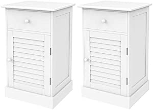 Yaheetech 2pcs Wood Nightstands, End Tables with Storage Cabinet and Drawer, Slatted Door Height Adjustable Shelf, White