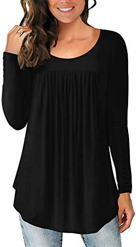 LONGYUAN - Blusa casual, elástica y cómoda para mujeres, de manga larga, tipo túnica, ajuste holgado, para otoño, Negro, XL