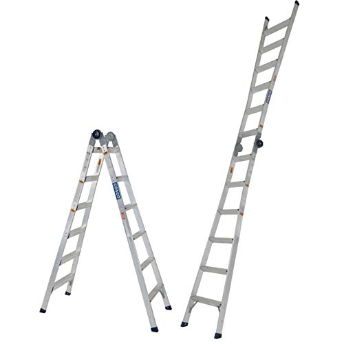 of cosco ladders COSCO 20212T1ASE 16ft max reach 2-in-One Extension Ladder, Steel Gray