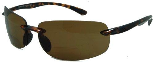 In Style Eyes Lovin Maui Wrap Polarized Nearly Invisible Line Bifocal Sunglasses tortoise 2.00