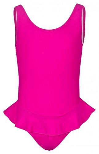 tanzmuster Mädchen Badeanzug Einteiler 'Arielle' mit Röckchen in pink. Süßes Ballerina Badeanzugkleid für Kinder und Kleinkinder in Größe 140/146