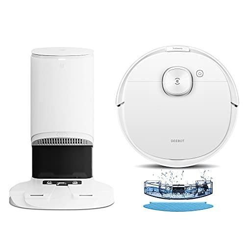 Ecovacs Robot Aspirapolvere Lavapavimenti DEEBOT N8+, Aspirapolvere Robot con Svuotamento Automatico, Navigazione Laser LDS, Mappatura Multilivello, Controllo APP & Alexa, Pulizia Peli Animali