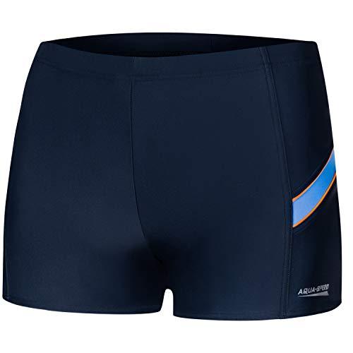 Aqua Speed Kurze Enge Retro Badehosen Herren Jungen + gratis eBook   Boxer Schwimmhose   UV Trunks Wasserball   Wiliam, Gr. S, 432 Navy Blue orange
