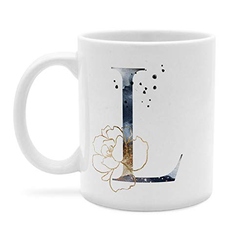printplanet - Tasse mit Buchstabe: L - Kaffeebecher, Mug, Becher, Kaffeetasse, Beidseitiger Druck - Farbe Weiß