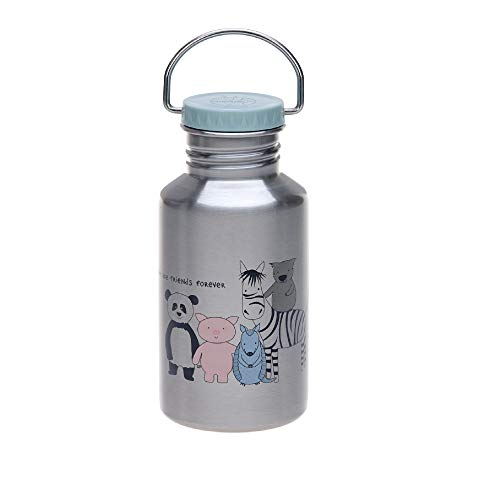 LÄSSIG Bouteille en acier inoxydable pour enfants Bouteille à boire anti-déversement lavable au lave-vaisselle/Bottle Stainless Steel About Friends grau
