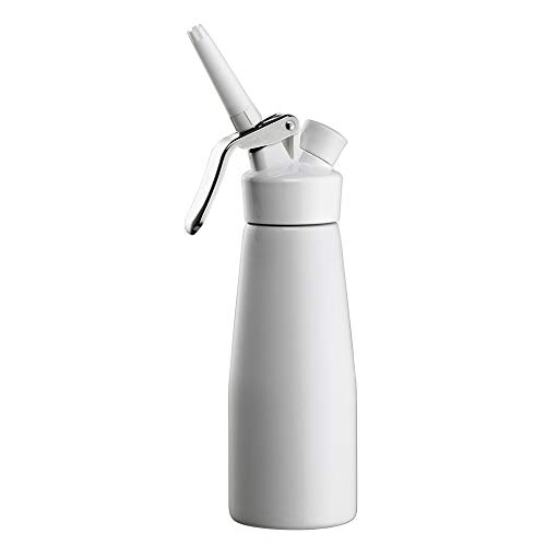 Chef-Master 90068 Whip Cream Dispenser, Whipped Cream Dispenser for Waffles, Coffee, Cakes, Professional Grade Whipping Cream Dispenser, White Professional Design, Large 0.5-Liter / 1 Pint Capacity
