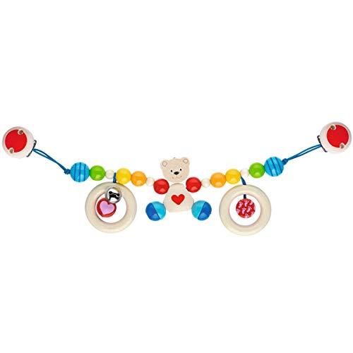 solini Kinderwagenkette Teddybär - farbenfrohes Spielzeug für Spazierfahrten - Babyspielzeug mit kleiner Glocke - ab Geburt geeignet