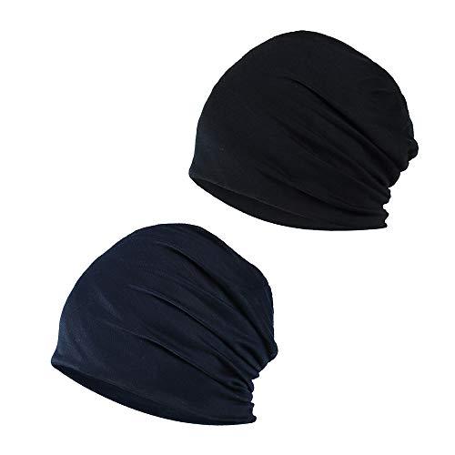 YOFASEN Gorro Slouchy - Quimio Cáncer Algodón Sombrero para la Cabeza Gorro para Dormir Turbante Sombreros Elástico Pañuelo Musulmán para Mujeres Hombres(2 Paquetes), Negro + Azul Marino, Talla única