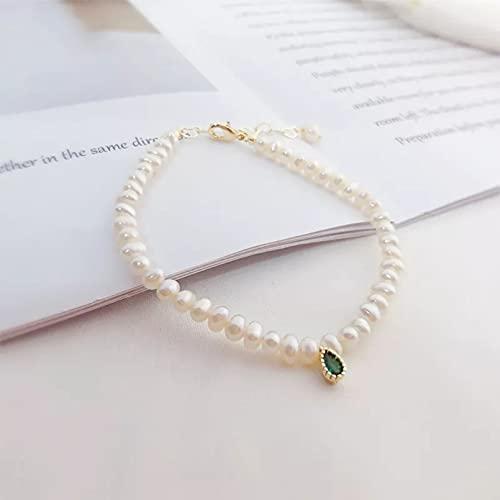 QiuYueShangMao Delicado Collar Barroco de Perlas de Esmeralda para Mujer, Pulsera de Cadena con Colgante de Perlas Naturales, joyería para Mujer, Regalos de Boda de Tendencia Pulsera de la Amistad