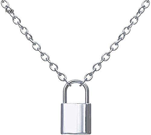 Aluyouqi Co.,ltd Halsband lager kedjor hip hop punk rostfritt stål hänglås halsband män rock hjärta lås med nyckelhalsband för kvinnor män smycken gåva