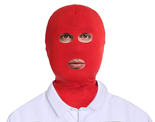 Adult Unisex Spandex Zentai Mask Open Eyes Mouth Hood (Red)