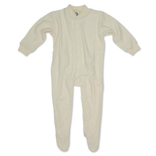 Cosilana Baby Schlafanzug mit Fuß, Farbe Natur, Größe 56, Woll-Frottee 100% Schurwolle kbT