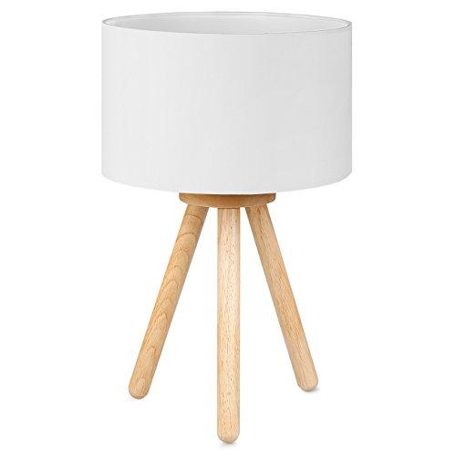 Tomons Lámpara de Cabecera en Madera, Trípode, Pantalla clásica en Tela, perfecta para Dormitorio, Sala de Estar, Estudio y Oficina, alto 39 cm, 1 x Bombilla LED de 4W incluida - Blanco