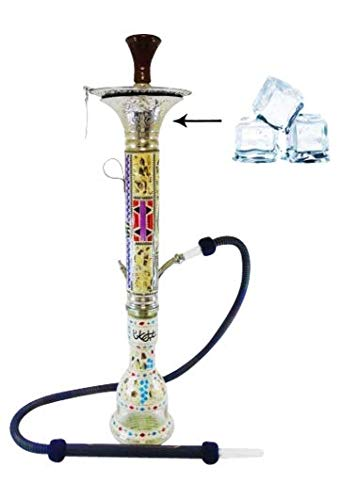 "Khalil Mamoon Sadaf Dana Ice Large Hookah – 37"" Shisha Smoking Pipe Designed for a Great Smoking Experience – Handcrafted Work of Art"
