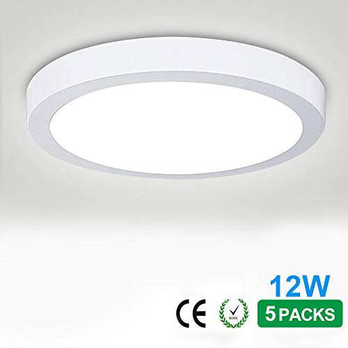 12W Flush Mounted LED Panel Wall Ceiling Down Lights,Close to Ceiling Fixture, Panel Lamp Mount Surface, Closet Lamp,Round, 5000K/Daylight White,6.69 Inch (12W-5 pack)