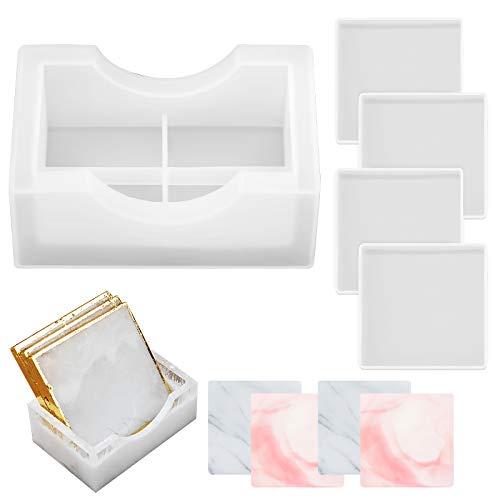 Set di 4 Sottobicchieri Stampo con Supporto Stampo Resina, Coaster Stampi in Resina Quadrati per realizzare creazioni artigianali in resina, tappetini per tazze, decorazioni per la casa