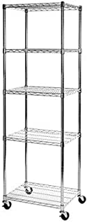 Seville Classics WEB570 UltraDurable Commercial-Grade 5-Tier NSF-Certified Steel Wire Shelving with Wheels, 24
