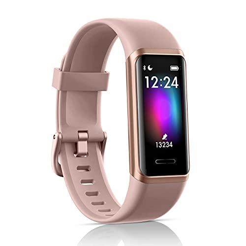 LATEC Fitness Tracker, Smartwatch Orologio con Alexa Integrato Impermeabile 5 ATM di Sportivo Calorie, Monitoraggio Frequenza Cardiaca del Sonno e della Salute per Sport Uomo Donna(rosa)